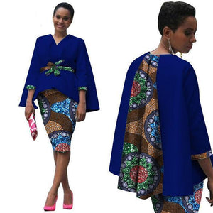 Africa Style Two Piece Suit Tops Jacket and Print Set Dukaiko
