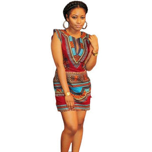 Africa Traditional Print Dress Vintage geometric print sleeveless Dress Dukaiko