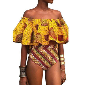 Africa Tribal Print Ruffle High Waist Bikini Swimsuit Female Bathing Suits Biquini Dukaiko