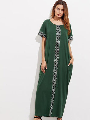 African Abaya Embroidery Maxi Kaftan dress Dukaiko