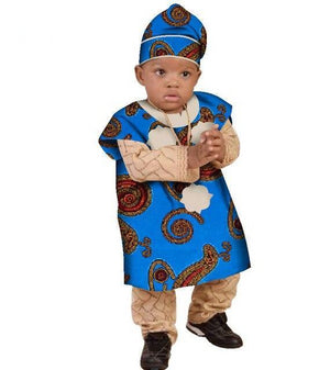 African Baby boy set with Hat for Children Kids Clothing Dukaiko