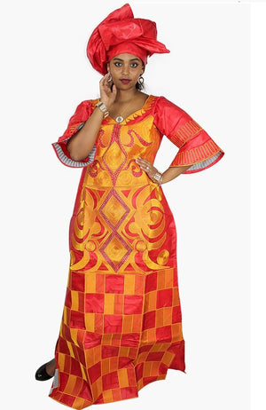 african bazin embroidery design long dress with scarf Dukaiko