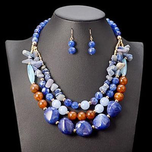 African Beads Gem Multi Layer Statement Chokers Jewelry Set Dukaiko