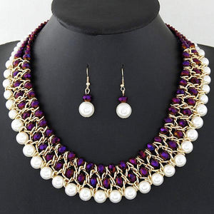 African Beads Jewelry Set Multilayer Statement Necklace Earrings Set Dukaiko