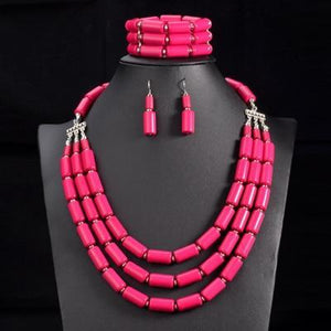 African Beads Nigerian Wedding Statement Collar Jewelry Set Dukaiko