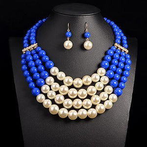 African Beads Pearl Necklace Wedding Accessory Dukaiko