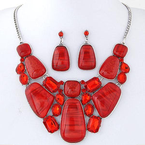 African Beads Vintage Statement Necklace Earrings Set Dukaiko