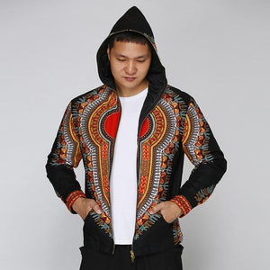 African Black Dashiki Print Casual Zipper Hooded Sweatshirt Dukaiko