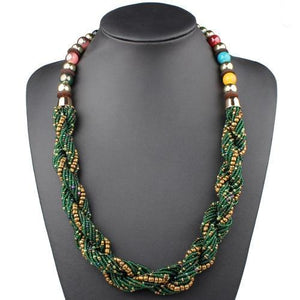 African Bohemian Jewelry Strand Multi Layers Twisted Choker Necklaces Dukaiko