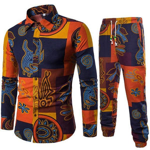 African Clothes Bazin Riche Dashiki Men Printed shirt Plus Harem Pants Fashion Streetwear Indian Tee Tops Clothing Set Dukaiko