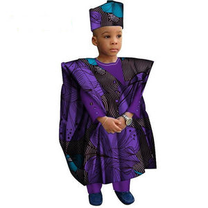 African Clothes with Head Scarf for Boy Gown Dukaiko