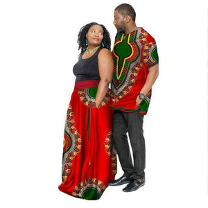 African Couple Clothing Summer Dashiki Women Skirt & Men shirt Dukaiko