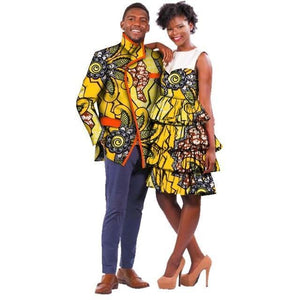 African Couple Wax Print dashiki Clothing Dukaiko