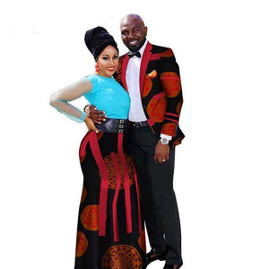 African Couple Wedding Clothing Dashiki Women Skirt & Men shirt Dukaiko