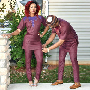 African Couples Clothing EMBROIDERY DESIGN TOP WITH PANTS Dukaiko