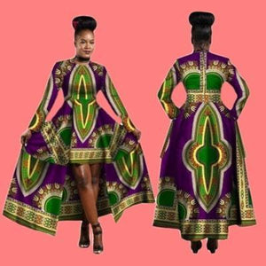 African Dashiki Cotton Wax Print Batik Sexy Long Dress Dukaiko