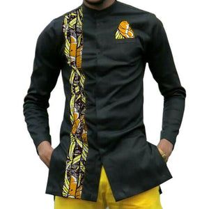African dashiki patchwork long sleeve stand collar shirt Dukaiko