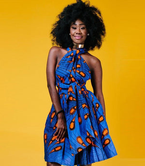 African Dress Blue Vintage 3 ways to wear Dukaiko