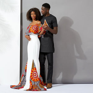 african dress & men 2pieces couples set wax clothing Dukaiko