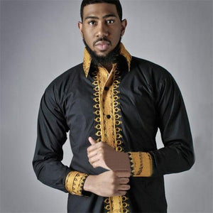 African Folk Style Lapel Long Sleeved Shirt Dukaiko