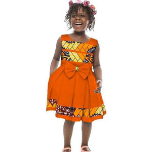 African Girls Bow-tie A-line Dresses for Kids Clothing Dukaiko