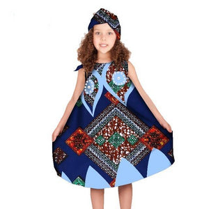 African Girls Dresses with Headtie Clothing Dukaiko