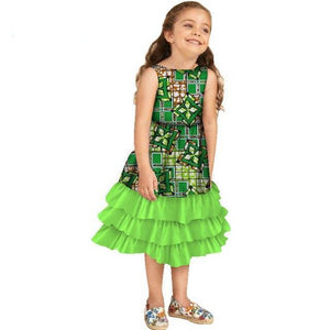 African Girls Multi-layered Ruffle Dresses for Kids Clothing Dukaiko