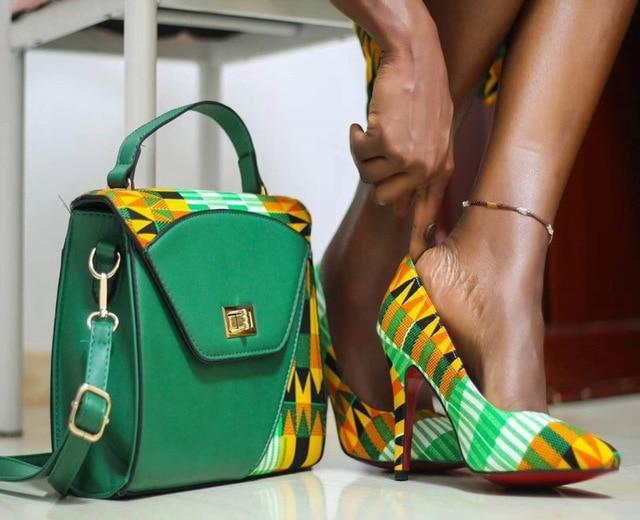 African HandMade Elegant Pumps Shoes And HandBag Dukaiko