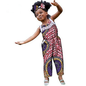 African Jumpsuits with Bow Headtie for Kids Girls Children Clothes Dukaiko