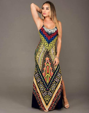 African Maxi Tribal Print Long V-neck Harness Dress Dukaiko