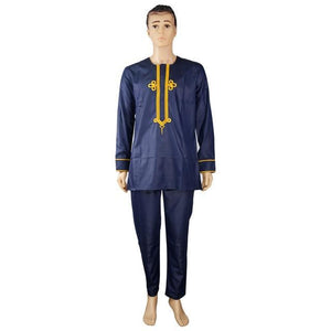 african men 2 pieces embroidered dashiki shirt with trouser Dukaiko