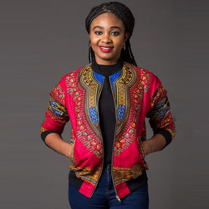 African Print Dashiki Long Sleeve Short Casual Jacket Dukaiko