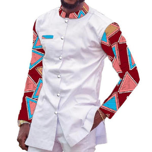 African Print Shirt Men Stand Collar Tops  Ankara Outfit Patchwork Dashiki Africa Clothing Dukaiko