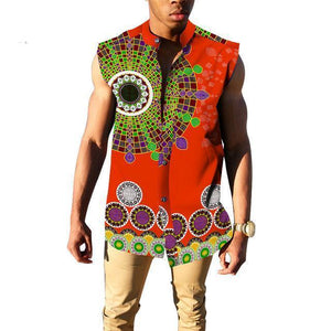 African Slim Fit Sleeveless Dashiki Casual Mens Shirts Dukaiko