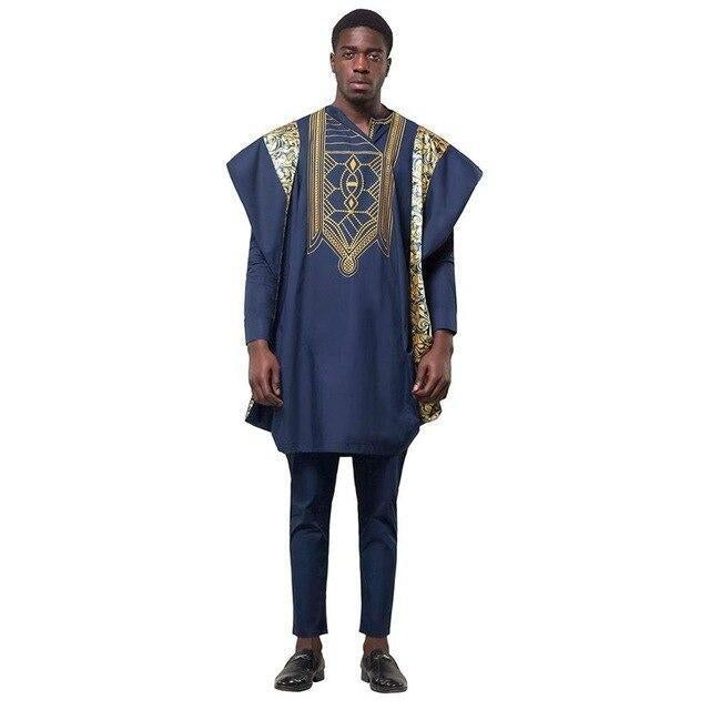 African Suits for Men Dashiki 3PCS Set Outfit Formal Attire Clothes Dukaiko