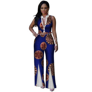 African V-Neck Sleeveless Romper Jumpsuits Dukaiko