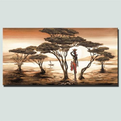 African Woman Paintings On The Wall Classical Sunset Landscape Dukaiko