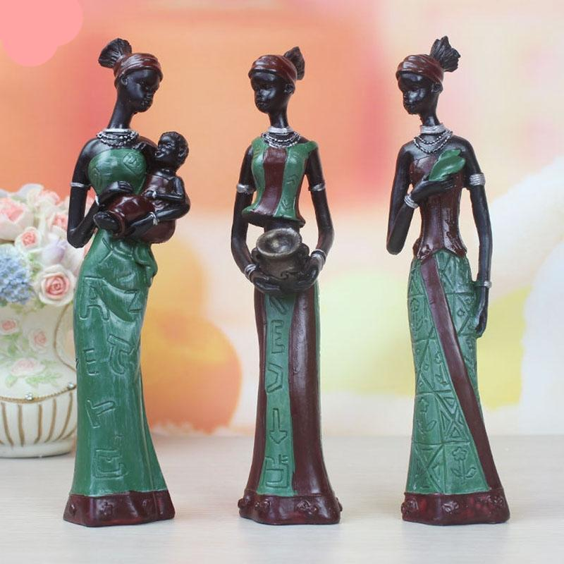 African Woman Statue Resin Ornaments 3pcs/Set Dukaiko