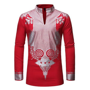 Black Dashiki Print Shirt Slim Fit Long Sleeve Shirt 2019 Fashion Men Dukaiko