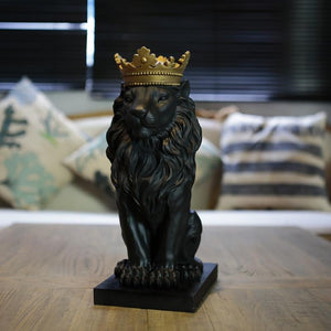 black lion king exquisite statue with the crown Dukaiko