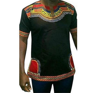 Cotton Dashiki African Print Traditional T-shirt White Black dukaiko
