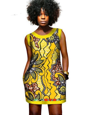 Dashiki Africa Printed bazin Mini Dress Vest dukaiko