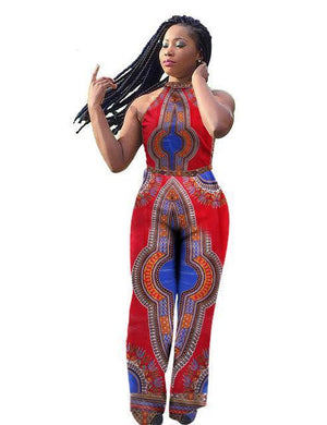 Dashiki African Print Sleeveless Long Pants Jumpsuits dukaiko