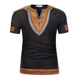 Dashiki knitting stitching short sleeve tops dukaiko