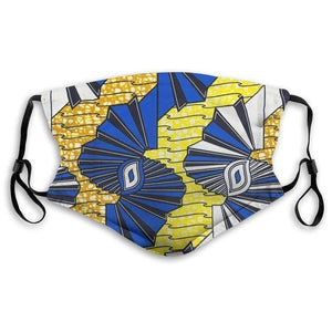Dust Mask with Filter, Crimped Blue Orange White Yellow Ankara African Fabric Mouth Face Mask Washable Reusable Anti Pollution Dukaiko