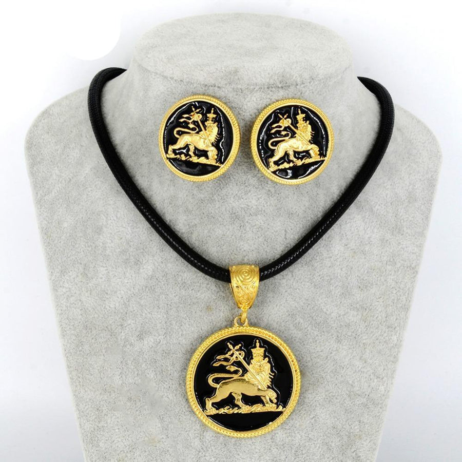 Ethiopian Lion of Judah Pendant Ropes Earrings Gold Color Jewelry Set Dukaiko