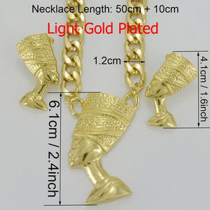 Gold Color Egyptian Queen Nefertiti Pendant Jewelry Sets dukaiko