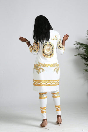 Golden Print Women Suite Style Wear Dukaiko