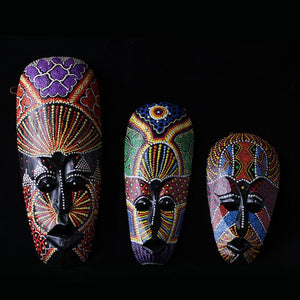 Gorgeous Colored Stippling Men Face Wood Masks Dukaiko
