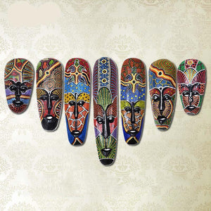 Hand Drawn African Totem Face Mask Wall Decor Dukaiko